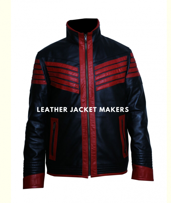 halloween costume red leather jacket