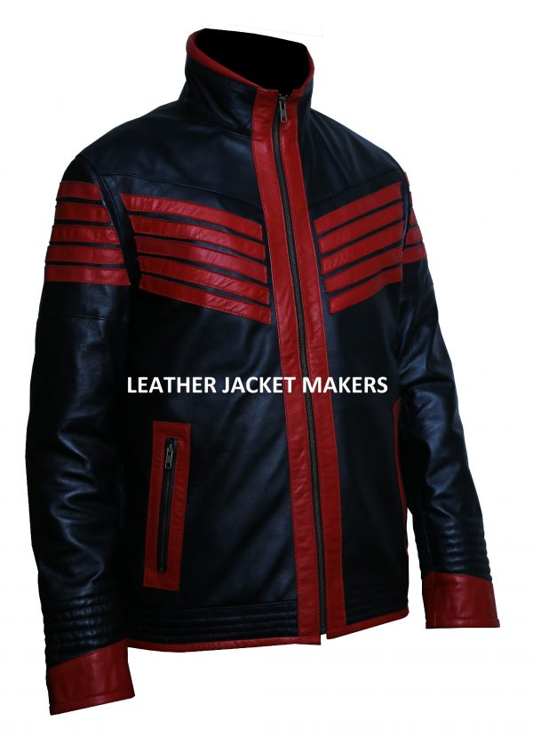 red black motorcycle leather jacket