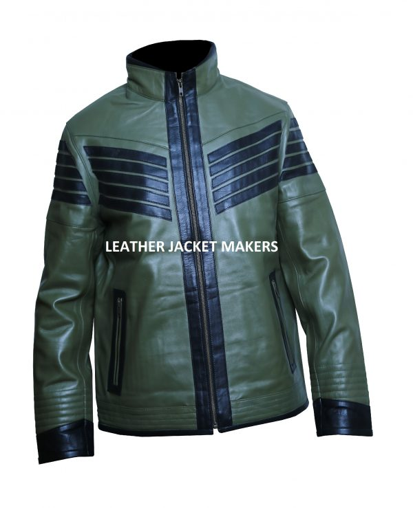 Mens Green Motorcycle Leather Jacket