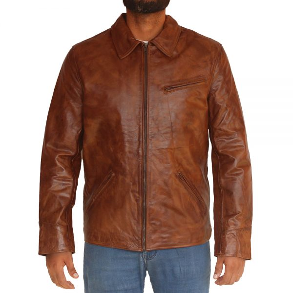 Vintage Brown Leather Jacket With Shirt Style Collar