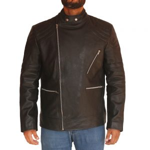 Men's Asymmetrical Style Fashion Leather Jacket