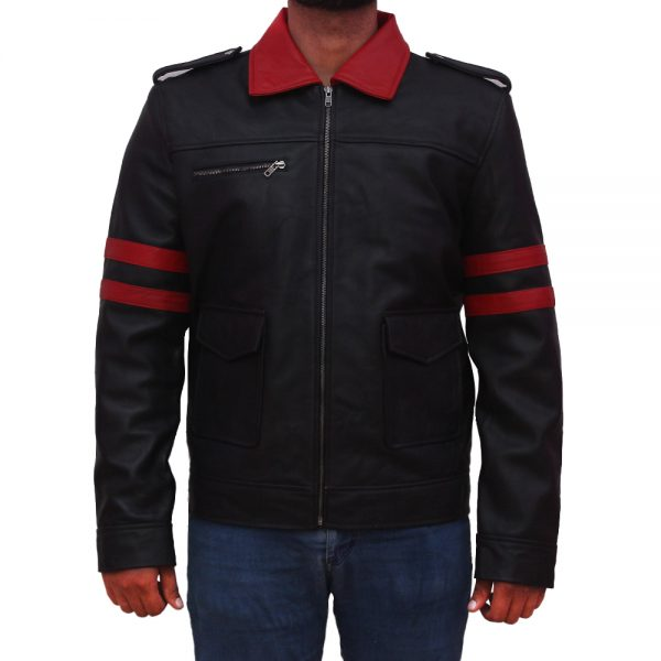 Mens Stylish Black Leather Jacket With Red Stripe