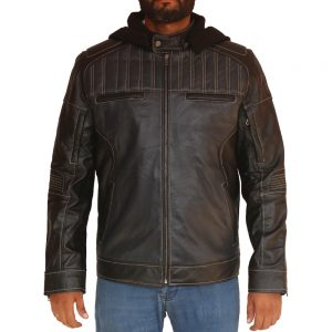 Mens Gorilla Style Hooded Leather Jacket
