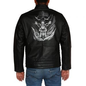 Men's Skull Rider Style Motorcycle Leather Jacket