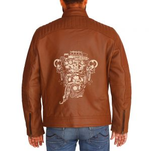 Men's Brown Motor Head Leather Jacket