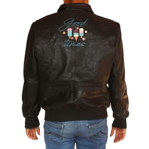 Men's Good Times Leather Jacket With Shirt Collar