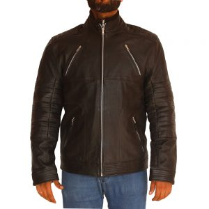 Mens Padded Design Motoyrcycle Leather Jacket